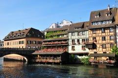 Bas Rhin den pittoreska staden av Strasbourg i Alsace Royaltyfri Foto