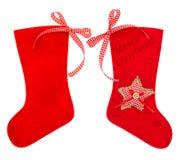 Bas rouge de Noël pour des cadeaux de Santa Image stock