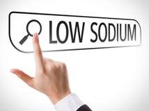Bas sodium écrit dans la barre de recherche sur l'écran virtuel images stock