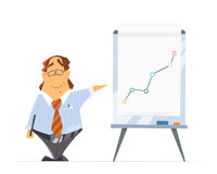 Basa den högsta ledaren för manföretagshuvudet och kontorsflip-diagrammet vektor illustrationer