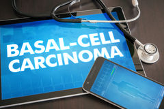 Basal-cell carcinoma (cancer type) diagnosis medical concept on. Tablet screen with stethoscope Royalty Free Stock Images