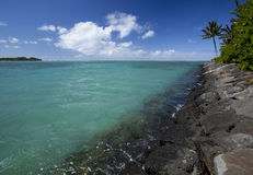 Basalt. The coastline from magmatic basalt of the island of Mauritius in the Indian Ocean stock image