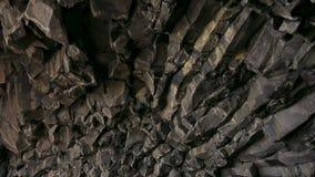 Basalt cave on Reynisfjara beach near Vik, Iceland.  stock video footage