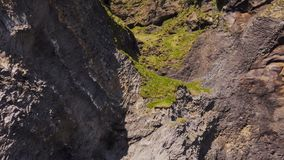 Basalt clif op Reynisfjara-strand dichtbij Vik, Icealnd stock footage