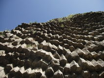 Basalt Cliffs. View looking up from underneath basalt cliffs in Azat river gorge near Garni, Armenia Stock Photo