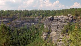Basalt cliffs in national park reserve Bohemian Switzerland in Czech, top view. Amazing nature stock video footage