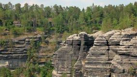 Basalt cliffs in natural park reserve Bohemian Switzerland in Czech, top view. Amazing nature stock video