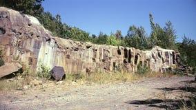Basalt cliffs in summer. Shot in Ukraine near village Basaltove, Rivne rigion stock video footage