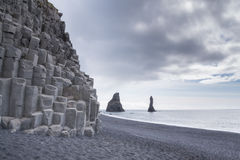 Basalt coloumns at the Black Beach, Iceland Royalty Free Stock Image