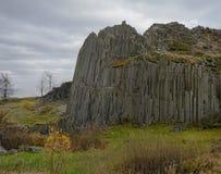Basalt column pillars lava vulcanic rock formation organ shape w Royalty Free Stock Photography