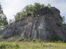 Basalt column pillars, lava vulcanic rock formation organ shape national cultural landmark Zlaty vrch, Jetrichovice stock photos