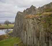 Basalt column pillars lava vulcanic rock formation organ shape w. Ith lake panska skala in kamenicky senov prachen czech republic Stock Photos