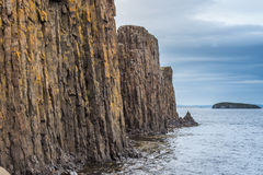 Basalt column rock formations, Stykkisholmur, iceland Royalty Free Stock Photo