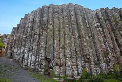 Basalt columns. Natural volcanic rock formation at the Giant's Causeway, County Antrim, Northern Ireland stock image