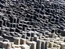 Basalt columns. Interesting gradation of tones in this area of basalt columns on a volcanic island stock photo