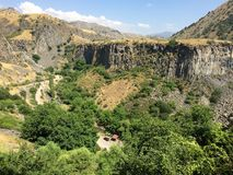Basalt columns, Armenia's Garni Gorge on sunny summer day Stock Photography