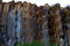 Basalt columns curvy detail. Curvy basalt columns - natural volcanic rock formation in Sinop Boyabat, Turkey Royalty Free Stock Photo