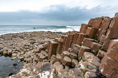 Basalt Columns at Giant`s Causeway. In Northern Ireland royalty free stock photos