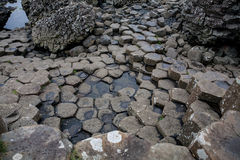 Basalt Columns at Giants Causeway. The Giant's Causeway is an area of about 40,000 interlocking basalt columns, the result of an ancient volcanic eruption. It is stock photo