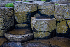 Basalt Columns at Giants Causeway. The Giant's Causeway is an area of about 40,000 interlocking basalt columns, the result of an ancient volcanic eruption. It is royalty free stock images