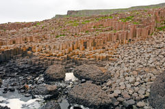 Basalt Columns on an Ocean Shore. The Giants Causeway in Northern Ireland Royalty Free Stock Photos