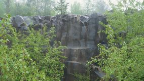 Basalt pillars in the rain. Basalt columns in the pouring rain in nature between the bushes stock footage
