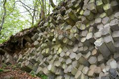Basalt columns    -   Prism wall   in  Bavaria, Germany. Prism wall - basalt columns in the Rhön, Bavaria, Germany with tree stock images