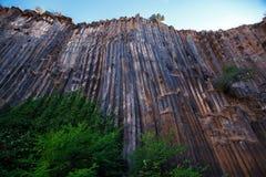 Basalt columns texture. Basalt columns - natural volcanic rock formation in Sinop Boyabat, Turkey Stock Photography