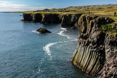 Basalt formations on the coast of Iceland. Basalt formations on the west coast of Iceland Stock Photo