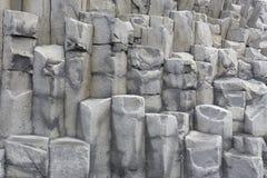 Basalt Halsanefshellir Cave at a black Reynisfjara beach near Vi Stock Photo