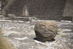 Basalt head sculpture in Cholula, Mexico Stock Image