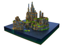 Basalt islands 3d art Royalty Free Stock Photography