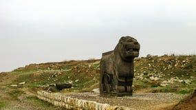 Basalt lion statue, Ruins Ain Dara temple near Aleppo Syria. Basalt lion statue, Ruins of Ain Dara temple near Aleppo, Syria stock photos