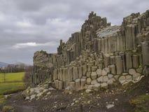 Basalt pillars lava vulcanic rock formation organ shape with lak. E panska skala in kamenicky senov prachen czech republic Royalty Free Stock Images