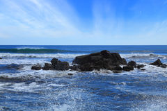 Basalt reef. S on the Pacific coast royalty free stock photo