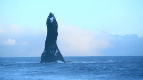 Basalt rock at the black sand beach near Vik, Iceland stock video footage