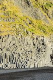 Rock column formations at Reynisfjara Beach Iceland. Basalt rock column formations at Reynisfjara Beach on the southern coast of Iceland along Ring Road Royalty Free Stock Photo