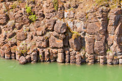 Basalt rock columns of Miles Canyon Yukon Canada Stock Photography