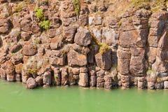 Basalt rock columns of Miles Canyon Yukon Canada Stock Photography