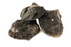 Basalt rock for industries. Isolate on white background stock photo