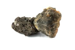 Basalt rock for industries. Isolate on white background stock images