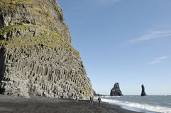 Basalt rock at volcanic beach in Iceland. stock photography