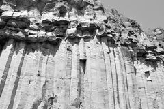 Basalt Rocks Column are volcanic rock outcrops in the form of columnar basalt located in Racos, Romania. In an old roman abandoned career. It is a national stock photos