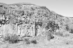 Basalt Rocks Column are volcanic rock outcrops in the form of columnar basalt located in Racos, Romania. In an old roman abandoned career. It is a national royalty free stock image