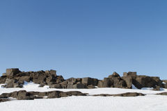 Basalt rocks near Dettifoss falls. Basalt rock landscape covered in snow in north Iceland Royalty Free Stock Photo