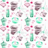 Basalt stones for massage with bamboo shoots, scented candles, aroma oils, sea shells, orchid flowers and pink petals. Spa objects seamless pattern hand painted Royalty Free Stock Photos