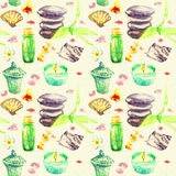 Basalt stones for massage with bamboo shoots, scented candles, aroma oils, sea shells, orchid flowers and pink petals. Spa objects set, seamless pattern hand Royalty Free Illustration