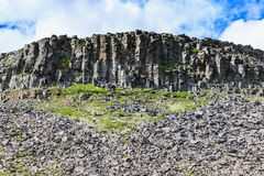 Basalt stones near Hvitserkur spectacular rock in the sea Stock Photography