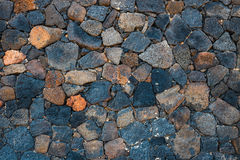 Basalt volcanic rock wall royalty free stock images