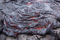 Basaltachtige lavastroom die langzaam hard maken royalty-vrije stock foto's